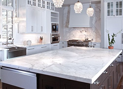 White Marble Counter : Instant peel and stick self adhesive white grey faux
